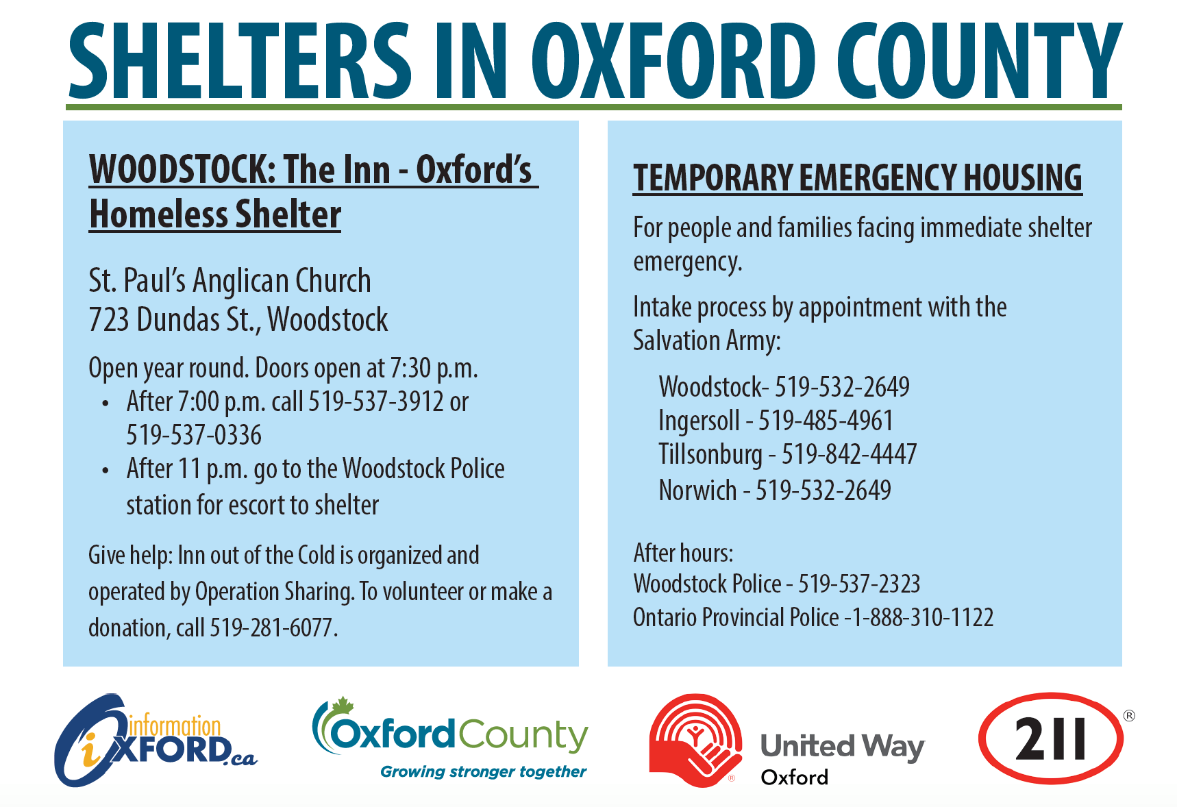 Information about shelters in Oxford County.